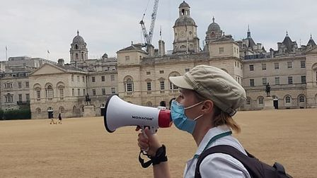 Healthworker Jordan Rivera at an NHS pay rise protest in central London on August 8.