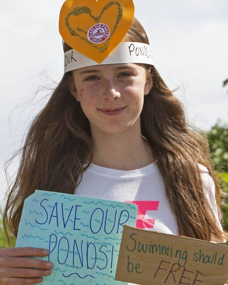 A protester at the August 22 protest against compulsory charges to swim on Hampstead Heath. Picture: