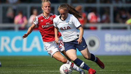 Leonie Maier of Arsenal and Angela Addison of Tottenham during Arsenal Women vs Tottenham Hotspur Wo