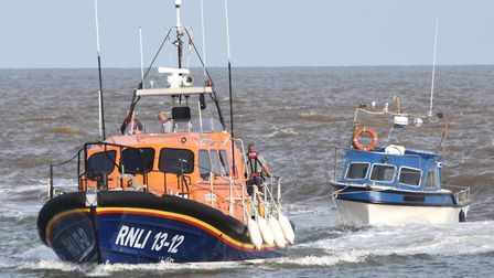 Lowestoft Lifeboat towed in the stranded vessel after it developed engine problems. Pictures: Mick H