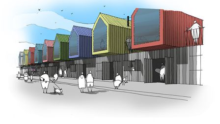 Artist's impression of the overnight beach huts which are to be built along the seafront in Lowestof