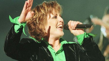 Katrina Leskanavich singing the winning entry for the Unitede Kingdom atthe Point Theatre in Dubli