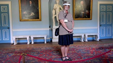 Volunteer Susan Teece at the new 'exit hall' at Kenwood House. English Heritage are always looking f