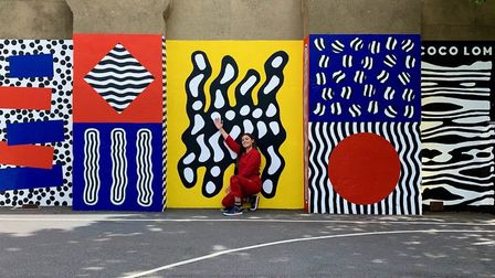 The 30ft by 9ft mural comprising of wiggling lines, stripey spots and bold patterns was designed by