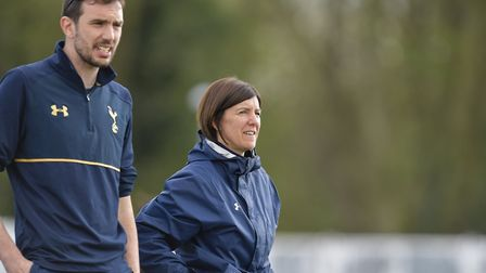 Tottenham Ladies' manager Karen Hills with first-team head coach Juan Amoros. Picture: WUSPHOTOGRAPH