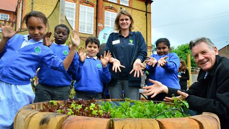Michael Palin joined students and Jenny Hindson, Edible Playground co-ordinator for Trees For Cities