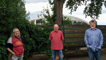 Tree campaigners including Michael Brookes (right) in front of Blanche Nevile School in Muswell Hill