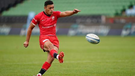 Saracens' Manu Vunipola kicks a conversion during the Gallagher Premiership match at Twickenham Stoo