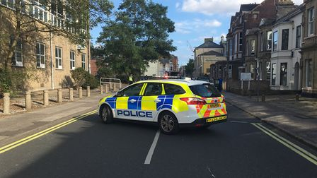 Surrey Street has been closed off by police. Photo: James Carr