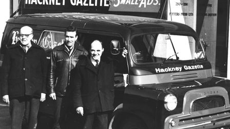 Burt Firecracker and the Hackney Gazette delivery team. Picture: Courtesy of the Potter Family