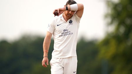Middlesex's James Harris in action during day one of The Bob Willis Trophy match at Radlett Cricket