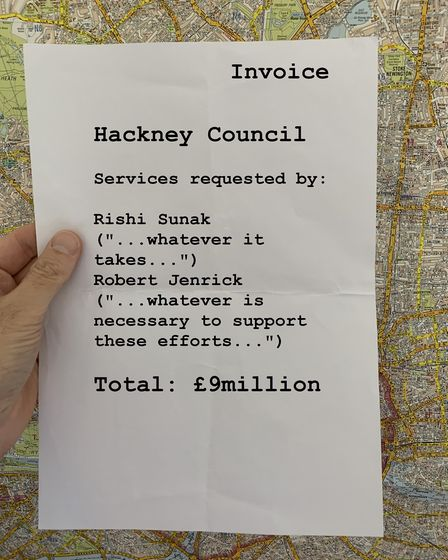 A mocked-up invoice from Hackney Council to the government for service provided during the coronavir