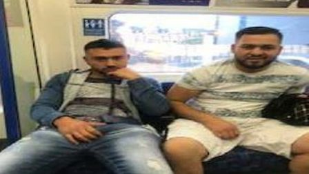 British Transport Police want to speak to two men over an incident of outraging public decency. Pict