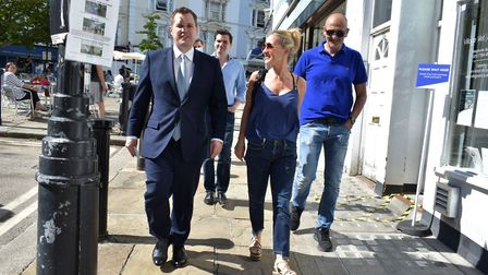 Robert Jenrick visits the Belsize streatery on 30.07.20. Pictured walking on Belsize Terrace with ow