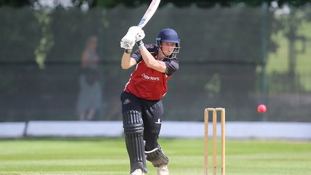 Luke Hollman drives the ball for North Middlesex in the Middlesex County Premier Division (pic: Geor