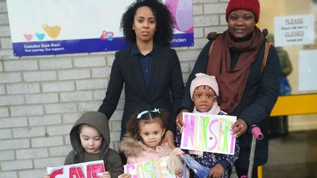 Parents and pupils campaigning to save Gospel Oak Nursery in February. Gospel Oak's future will not