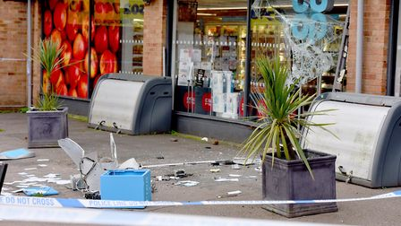 The aftermath of the ram raid in Kessingland.Picture: Nick Butcher