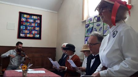 Re-enactment of 1914 Women's Suffrage Society Meeting at the Friends Meeting House, Pakefield. Pictu
