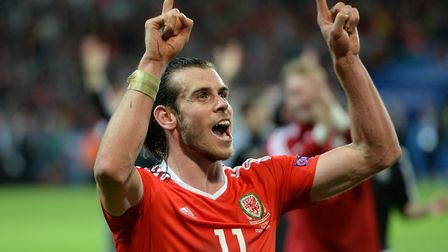 Wales' Gareth Bale celebrates after the UEFA Euro 2016, quarter final match at the Stade Pierre Maur