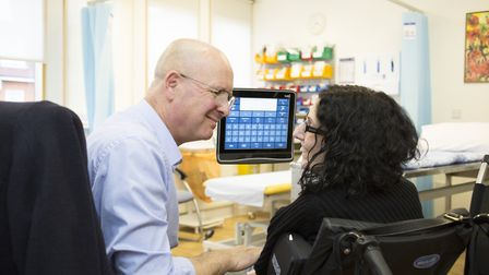 Sarah Ezekiel with medical director Adrian Tookman at Marie Curie Hospice in Hampstead. Picture: Kat