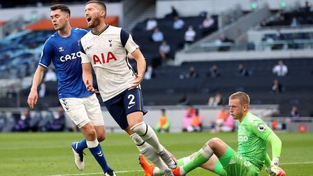 Tottenham Hotspur's Matt Doherty reacts after missing a chance from close range during the Premier L