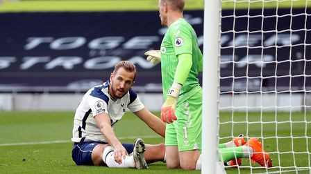 Tottenham Hotspur's Harry Kane reacts after he misses a chance during the Premier League match at th