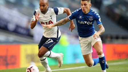 Tottenham Hotspur's Lucas Moura (left) and Everton's Lucas Digne battle for the ball during the Prem