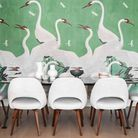 The dining area with Gucci wallpaper and Knoll furniture. Picture: Vigo Jansons