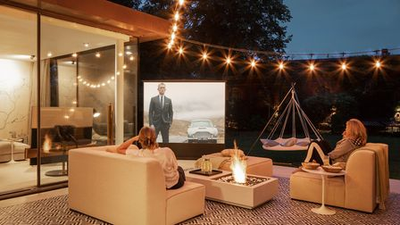 The outdoor area with its fire pit is perfect for evening film screenings. Picture: Vigo Jansons