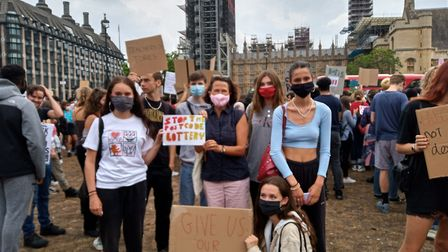 Teenagers from Hornsey and Wood Green with MP Catherine West at a Parliament Square protest over the