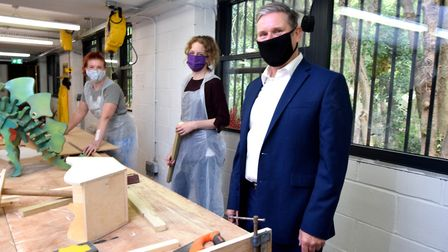 Keir Starmer visiting the woodwork facility on September 11. Picture: Polly Hancock