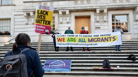 Hackney Stand up to Racism and Fascism rally outside Hackney Town Hall on 11.09.20. Picture: Polly H