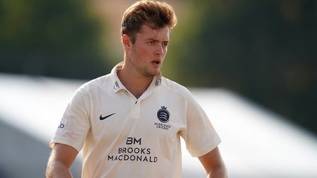 Middlesex's Tom Helm during day two of The Bob Willis Trophy match at Radlett Cricket Club, Radlett.