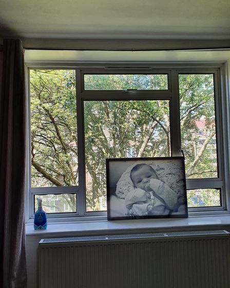 Rebecca's second-floor flat windows - with the top left missing. Picture: Rebecca O�Brien