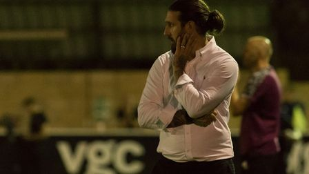 Hendon manager Lee Allinson in pensive mood (Pic: DBeechPhotography)