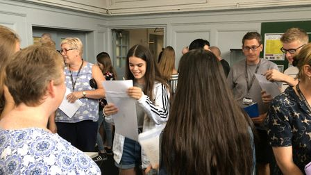 Students celebrate their GCSE results at Ormiston Denes Academy. Picture: Ella Wilkinson