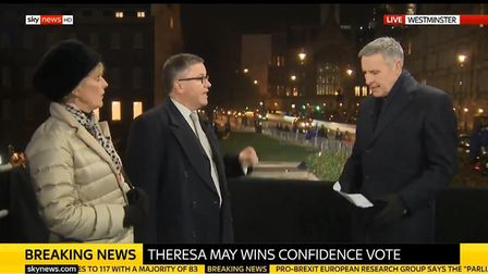 Anna Soubry MP is angered by claims of a Tory Brexiteer Robert Buckland MP. Photograph: Sky News.