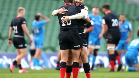 Saracens' Alex Goode (left) and Elliot Daly celebrate after the final whistle during the European Ch
