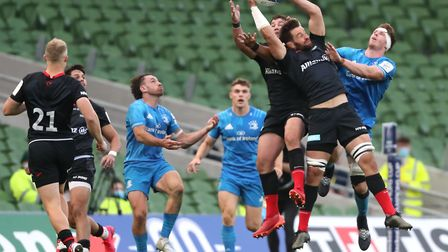 Saracens' Callum Clark (second right) catches the ball during the European Champions Cup quarter fin