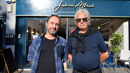 Joshua and Raymond Altback outside their salon at 69 Fairfax Road NW6