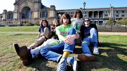 The band Feet pictured in front of Alexandra Palace, London.From left, Oliver Shasha, Harry Southe