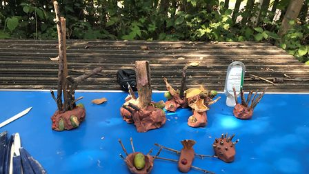 Children have been creating clay models as part of outdoor eduation sessions on Hampstead Heath. Pic