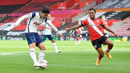 Tottenham Hotspur's Son Heung-min (left) scores his side's first goal of the game during the Premier