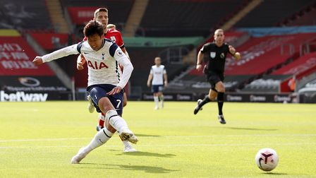 Tottenham Hotspur's Son Heung-min scores his side's third goal of the game during the Premier League