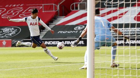 Tottenham Hotspur's Son Heung-min scores his side's fourth goal of the game during the Premier Leagu