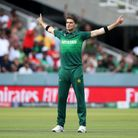 Pakistan's Shaheen Shah Afridi celebrates a wicket at the 2019 World Cup