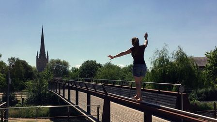 Annabel Carberry tightrope walking in Norwich