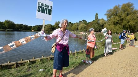 Protesters gather at the Model Boating Pond on September 20. Picture: Polly Hancock