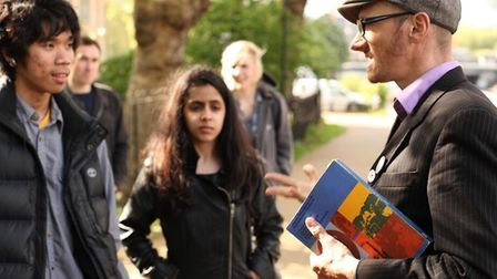 Hackney Tours guide Simon Cole gives arts emergency tour to BSix Sith Form students in Upper Clapton