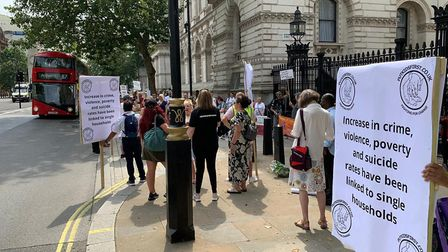 Protesters gathered to campaign against parental alienation on August 8 outside Downing Street. Pict